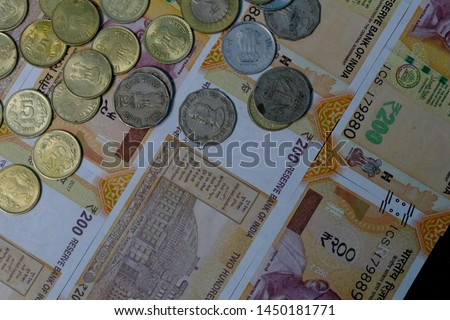 Indian Currency coins and Indian 500 note 200 note 2000 note #1450181771
