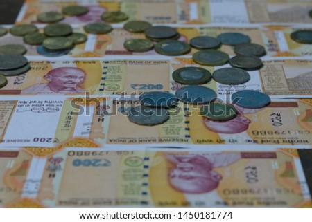 Indian Currency coins and Indian 500 note 200 note 2000 note #1450181774