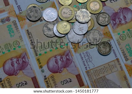 Indian Currency coins and Indian 500 note 200 note 2000 note #1450181777