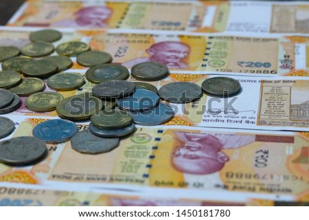 Indian Currency coins and Indian 500 note 200 note 2000 note #1450181780
