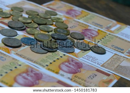 Indian Currency coins and Indian 500 note 200 note 2000 note #1450181783