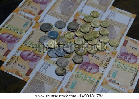 Indian Currency coins and Indian 500 note 200 note 2000 note #1450181786