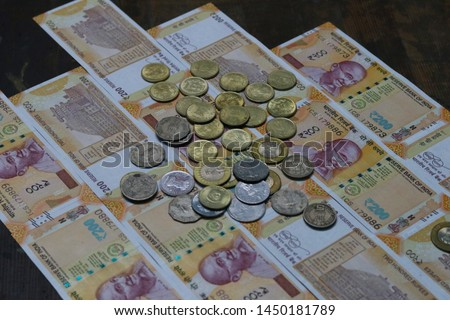 Indian Currency coins and Indian 500 note 200 note 2000 note #1450181789