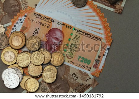 Indian Currency coins and Indian 500 note 200 note 2000 note #1450181792