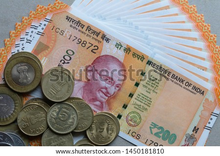 Indian Currency coins and Indian 500 note 200 note 2000 note #1450181810