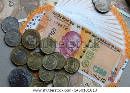 Indian Currency coins and Indian 500 note 200 note 2000 note #1450181813