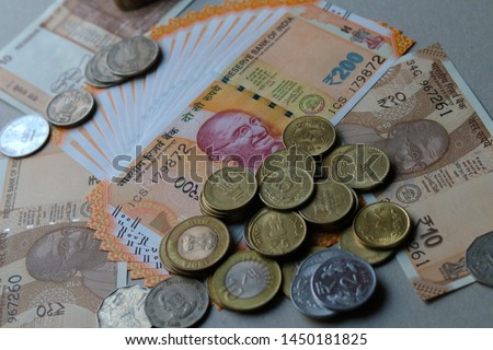 Indian Currency coins and Indian 500 note 200 note 2000 note #1450181825