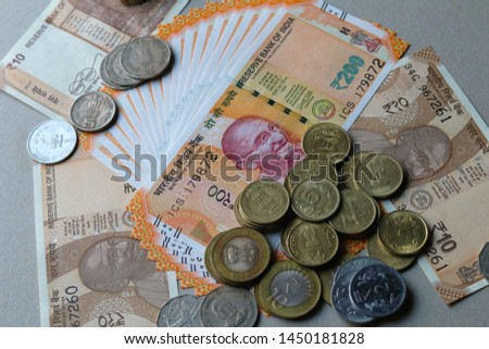Indian Currency coins and Indian 500 note 200 note 2000 note #1450181828
