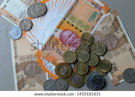 Indian Currency coins and Indian 500 note 200 note 2000 note #1450181831