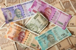 Indian currency notes background wallpaper. Money, business, investment, finanance, cash, fund, commerce and economy.