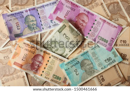 Indian currency notes background wallpaper. Money, business, investment, finanance, cash, fund, commerce and economy.  Imagine de stoc ©
