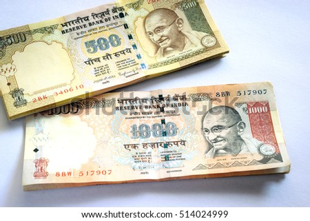 Indian currency of Rs.500/- and Rs.1000/- which the Government of India in a sudden and swift announcement demonetized w.e.f. 8th November, 2016 midnight to curtail corruption and fake currency.