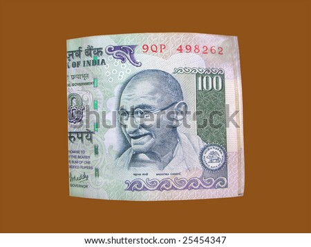 Indian Currency One Hundred Indian Rupees with Gandhi emblem.