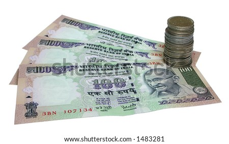 Indian Currency - Three one Hundred Rupee Notes / bills and a coin stack