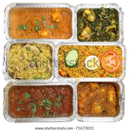 Indian curries & rice in takeaway food containers.
