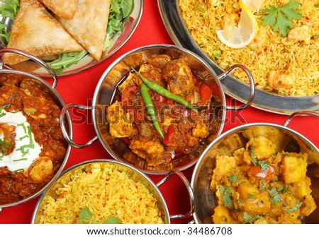 Indian curry banquet meal