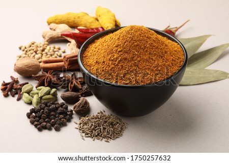 Indian curry masala with spices in the background Stock fotó ©