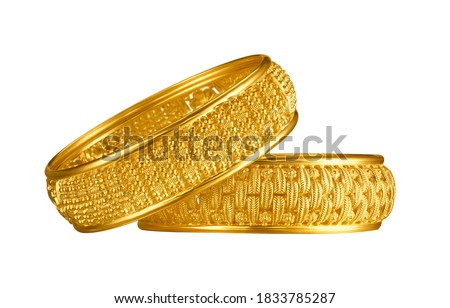 Indian design gold bangle isolated on white background