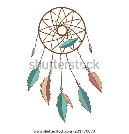 Indian dream-catcher dreamcatcher dream catcher with feathers and beads isolated on white background. Raster illustration.