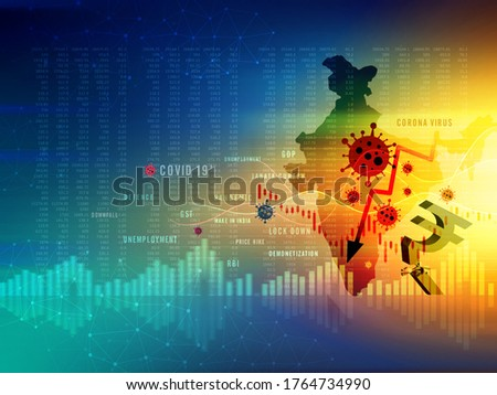 Indian economic crisis in corona pandemic, GDP growth downfall, slow down, economic crisis, unemployment, rupee downfall illustration, Indian rupee background, loss, rupee currency, India  Stockfoto ©