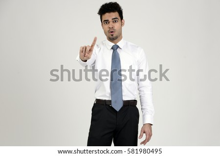 Indian employee saying no with finger #581980495
