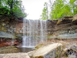 Indian Falls in the forest near Owen Sound, Ontario, Canada.