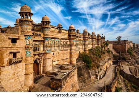 Indian famous landmark example of Mughal architecture - Gwalior fort. Gwalior, Madhya Pradesh, India