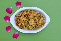 Indian fasting food cuisine item known as Farali Bhel prepared from Faradi chivda, peanuts, sev, sabudana, faraadi mixture, tamarind, tomato, capsicum. Eaten during ekadashi and Mahashivaratri