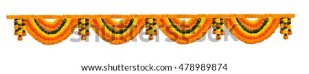 Indian festive decoration - photograph of garland of orange and yellow Marigold (Tagetes) flowers and green leaf arranged in alternate order, isolated over white background