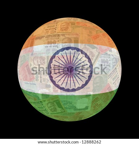 Indian flag currency globe button illustration