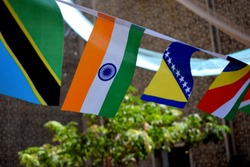 Indian flag floating among many other countries' flags in background in a global initiative