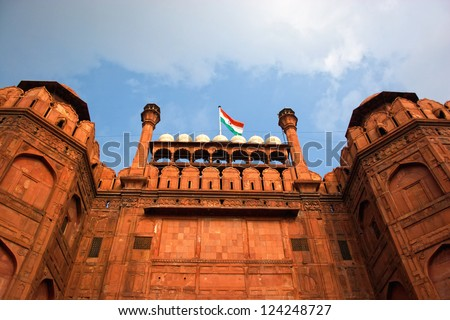Indian flag flying in Red fort, New Delhi