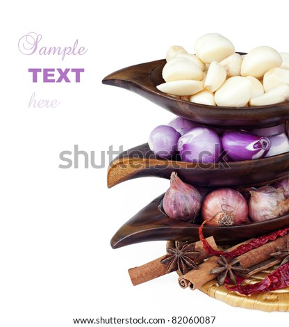 Indian food ingredient; onion,garlic and spices - stock photo