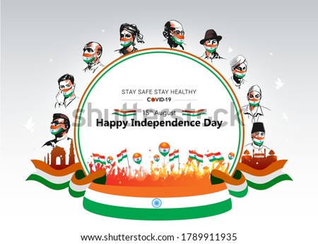 Indian Freedom Fighter, Martyrs day shaheed army, sardar bhagat singh, Subhash Chandra Bose, Republic day India background, 26 January parade celebration, and people wear tricolor medical mask Сток-фото ©