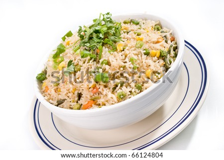 Indian Fried Rice on a White Bowl