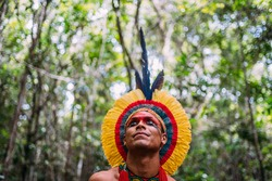 Indian from the Pataxó tribe, with feather headdress. Young Brazilian Indian looking to the left. focus on face
