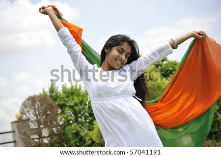 indian girl celebrating indian independence day