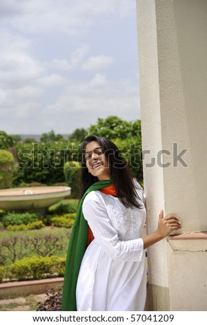 indian girl expressing freedom