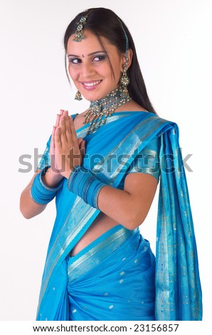 Indian girl in a welcome pose