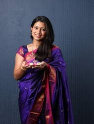 Indian Girl or women holding Pooja Thali