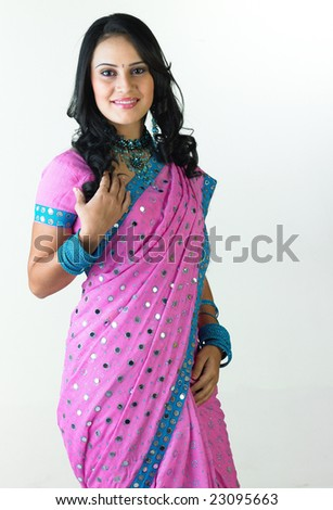 Free Photos Young Traditional Asian Indian Woman In Indian Blue Sari
