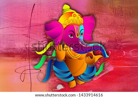 Indian God Ganesha Painting with Texture Background