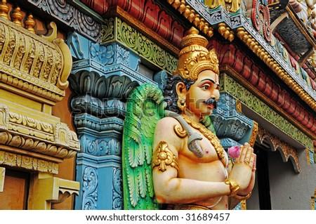 Indian God Guarding The Temple - stock photo