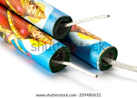 Indian Goddesses Lakshmi image on firecrackers for Diwali festival isolated on white background