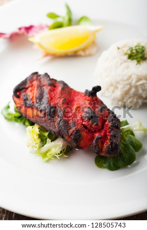 indian grilled tandoori chicken with rice