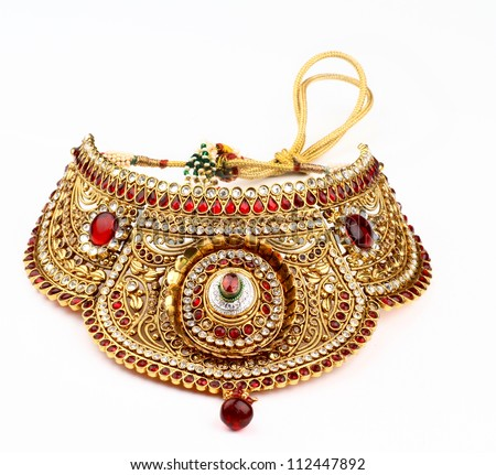 Indian jewelry isolated on a white background