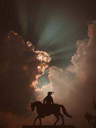 Indian King Chhatrapati Shivaji Maharaj silhouette Statue.