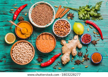 Indian kitchen various ingredients spices super foods for healthy life and good immune defense.  Stock photo ©