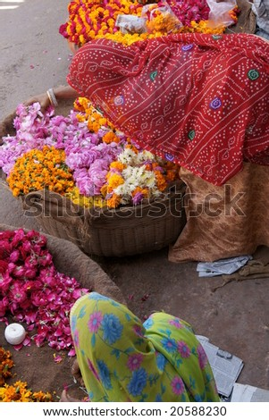 Indian ladies in brightly colored sari's selling flowers near the ghats around the sacred lake in Pushkar, Rajasthan, India