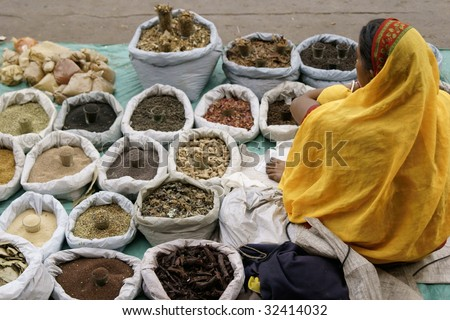 Indian lady in a yellow sari selling spices from a roadside stall in Old Delhi, India